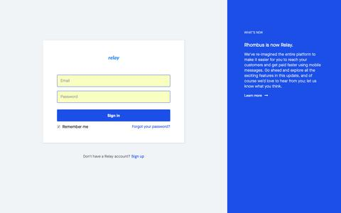 Screenshot of Login Page withrelay.com - Relay - Sign In - captured Oct. 18, 2018