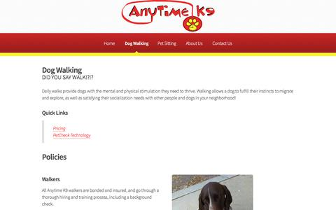 Screenshot of Pricing Page anytimecanine.com - Anytime K9 - Dog Walking - captured Feb. 9, 2018