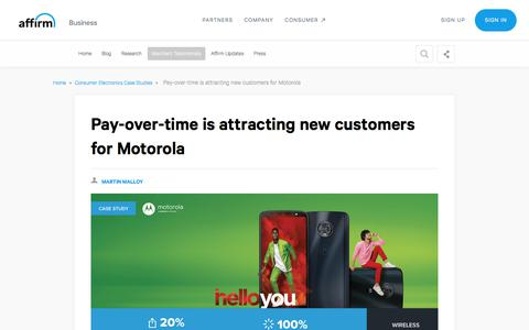 Screenshot of Case Studies Page affirm.com - Affirm boosted business growth for Motorola - captured Dec. 4, 2019