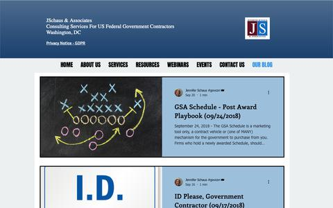 Screenshot of Blog jenniferschaus.com - Federal Government Contracting Procurement Compliance Washington DC | OUR BLOG - captured Oct. 1, 2018