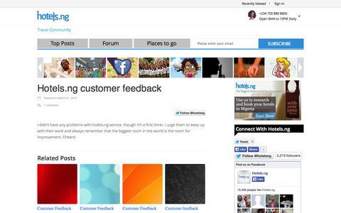 Screenshot of Blog hotels.ng - Hotels.ng customer feedback | Hotels.ng - captured Sept. 23, 2014