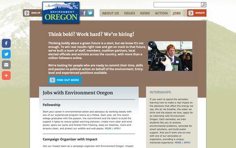 Screenshot of Jobs Page environmentoregon.org - Think bold? Work hard? We're hiring! | Environment Oregon - captured Nov. 5, 2018