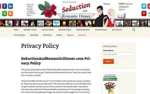 Screenshot of Privacy Page seductionandromanticdinner.com - Privacy Policy - Seduction and Romantic Dinner - captured Feb. 15, 2016