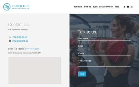 Screenshot of Contact Page turnfit.ca - Contact - Personal Trainer in Vancouver - captured May 24, 2019