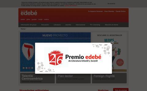 Screenshot of Home Page edebe.com - Grupo Edebé: Libros, Educación, Literatura Infantil y Juvenil, Audiovisuales para niños y jóvenes - captured Feb. 17, 2018