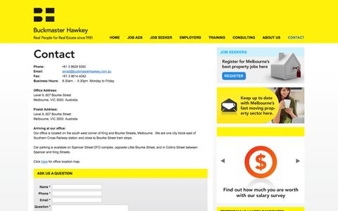 Screenshot of Contact Page buckmasterhawkey.com.au - Contact Buckmaster Hawkey, Melbournes Real Estate Recruiting Specialists - captured Sept. 30, 2014