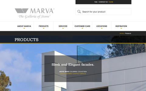 Screenshot of Products Page marvamarble.com - Products -  MARVA Marble and Granite - captured Feb. 3, 2016