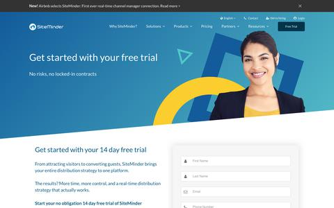 Screenshot of Trial Page siteminder.com - Get your no-obligation, free trial from SiteMinder - captured July 13, 2018