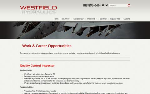 Screenshot of Jobs Page westfieldhydraulics.com - Work & Career Opportunities - Pacoima, California - captured Nov. 29, 2016