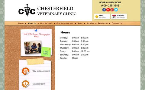 Screenshot of Hours Page chesterfieldvetclinic.com - About Us:Hours - Chesterfield Veterinary Clinic - captured Jan. 27, 2016