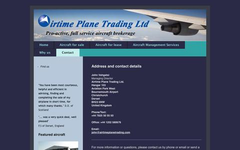 Screenshot of Contact Page airtimeplanetrading.com - Airtime Plane Trading: Contact - captured Oct. 4, 2014