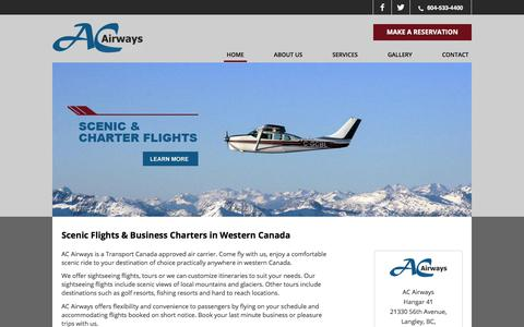 Screenshot of Home Page acairways.com - Scenic Flights & Business Charters in Western Canada | AC Airways - captured Oct. 6, 2017