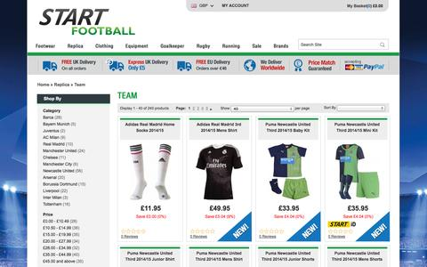 Screenshot of Team Page startfootball.co.uk - Teams | Football Products at Discount Prices | Start Football | Start Football - captured Sept. 23, 2014