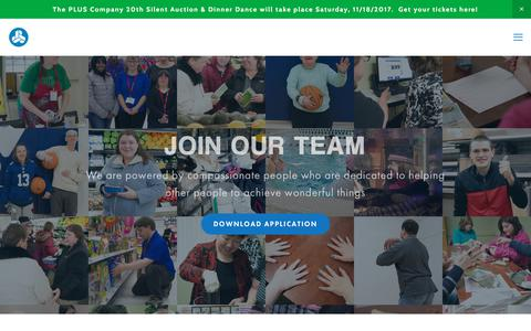 Screenshot of Jobs Page pluscompany.org - PLUS Careers — PLUS Company, Inc. - captured Nov. 16, 2017