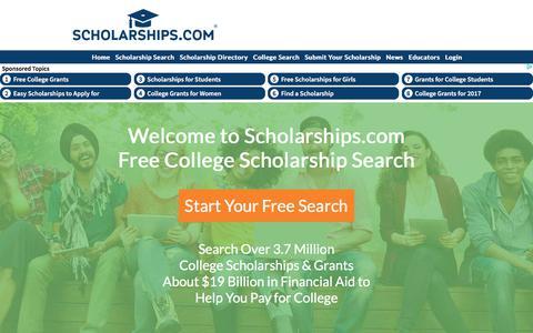 Screenshot of Home Page scholarships.com - Scholarships.com - Free College Scholarship Search Financial Aid Grants Scholarships College Scholarship Scholarships - captured June 23, 2017
