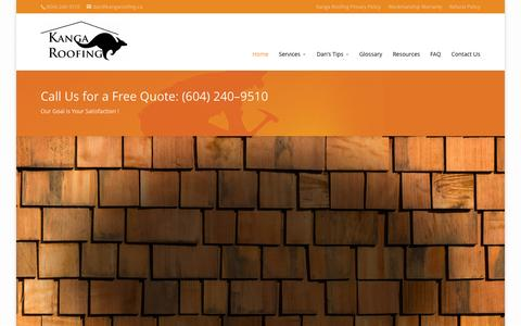 Screenshot of Home Page kangaroofing.ca - Roofers Services in Vancouver, Coquitlam, Richmond, Surrey, Burnaby, Langley - Kanga Roofing Inc. - captured June 19, 2015