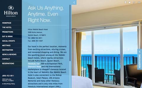 Screenshot of Contact Page hiltonwaikikibeach.com - Waikiki Beach Hotel - HIlton Waikiki Beach Hotel Contact informationWaikiki Beach - captured Jan. 30, 2016
