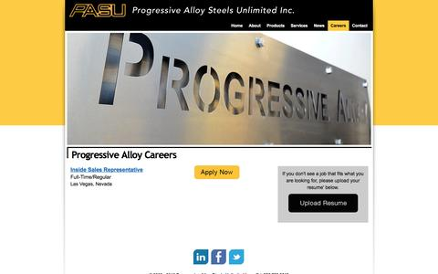 Screenshot of Jobs Page progressivealloy.com - Stainless Steel Careers - Suppliers of Specialty Stainless Steel - 800.798.5619 - captured Feb. 1, 2016