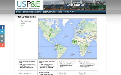 Screenshot of Case Studies Page uspowerco.com - Case Studies - Diesel Generators - US Power & Environment - captured Nov. 2, 2014