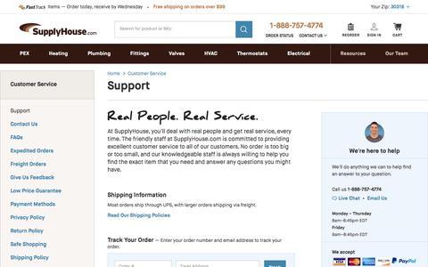Screenshot of Support Page supplyhouse.com - Support - SupplyHouse.com - captured Sept. 22, 2018