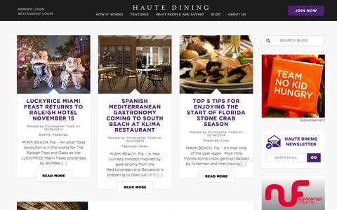 Screenshot of Blog hautedining.com - Haute Dining › Your Passport To The Ultimate Culinary Experience - captured Nov. 1, 2014