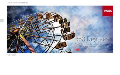 Screenshot of Home Page twbc.in - TWBC Marcom - Advertising | Branding | Digital | Films | Events - captured Oct. 9, 2014