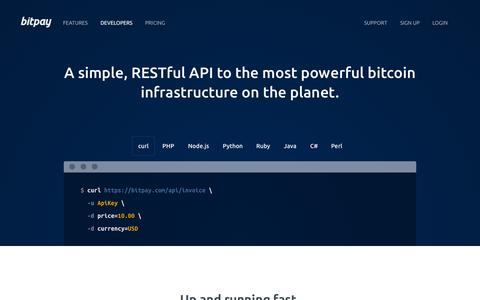 Screenshot of Developers Page bitpay.com - Developers - Bitcoin Payment Gateway API |  BitPay - captured Sept. 13, 2014