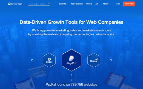 Screenshot of Home Page similartech.com - SimilarTech - Lead Generation, Competitive Intelligence based on Web Tech Analysis - captured Aug. 4, 2015