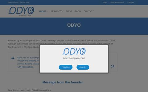 Screenshot of About Page odyo.ca - ODYO Hearing Care | About | Mission | ODYO - captured Feb. 8, 2016
