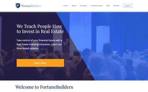 Screenshot of Home Page fortunebuilders.com - Real Estate Investment Coaching Programs   FortuneBuilders - captured April 30, 2019