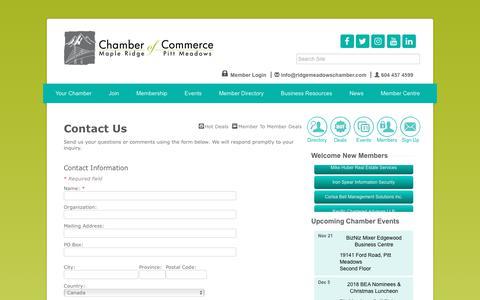 Screenshot of Contact Page ridgemeadowschamber.com - Contact Us - Ridge Meadows Chamber of Commerce, BRITISH COLUMBIA (BC) - captured Nov. 10, 2018