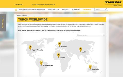 Screenshot of Locations Page multiprox.be - Turck Worldwide - MULTIPROX n.v. - captured Dec. 6, 2016
