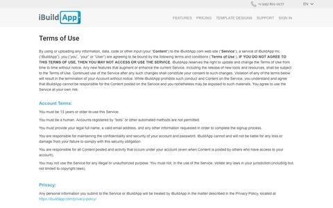 Screenshot of Terms Page ibuildapp.com - Terms of Use - captured May 9, 2017