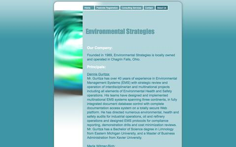 Screenshot of About Page envstrategy.com - About Us - Environmental Strategies - captured Oct. 2, 2014