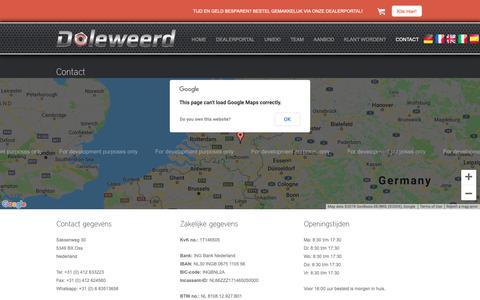 Screenshot of Contact Page doleweerd.nl - Contactgegevens   Van Doleweerd - captured Oct. 18, 2018