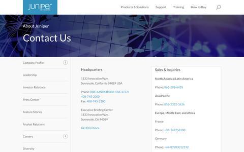 Screenshot of Contact Page juniper.net - Contact Us - Juniper Networks - captured Dec. 18, 2018