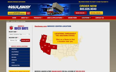 Screenshot of Locations Page haulaway.com - SERVICE CENTER LOCATION - Portable Storage & Construction Cargo Containers for Rent: Haulaway.com - captured Jan. 26, 2016