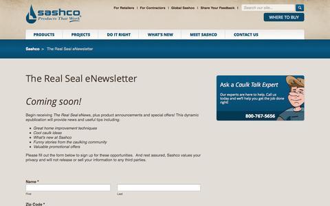 Screenshot of Signup Page sashco.com - The Real Seal eNewsletter - Sashco - captured Sept. 30, 2014