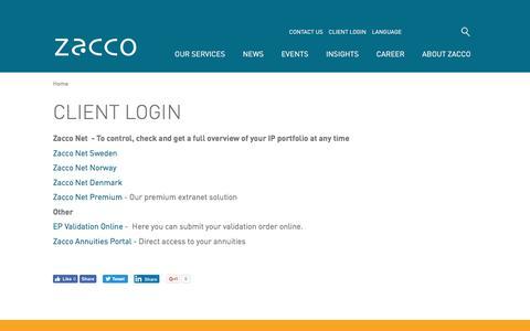Screenshot of Login Page zacco.com - Client Login | Zacco - captured June 11, 2017