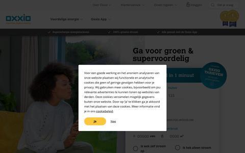 Screenshot of Home Page oxxio.nl - Energieleverancier Oxxio | Superslim. Supervoordelig. - captured Dec. 10, 2018