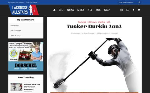 Screenshot of laxallstars.com - Tucker Durkin 1on1 - Lacrosse All Stars - captured April 5, 2016
