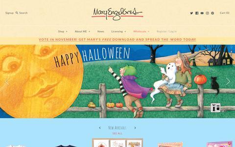 Screenshot of Home Page maryengelbreit.com - Mary Engelbreit, Licensed Art Studio, St Louis, Missouri - captured Oct. 17, 2018