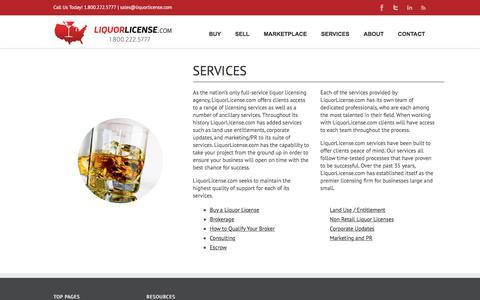 Screenshot of Services Page liquorlicense.com - SERVICES |Liquor License - captured Aug. 20, 2017