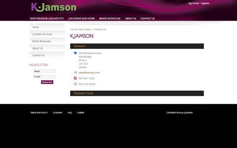 Screenshot of Contact Page kjamson.com - Contact Us - K.Jamson - captured Jan. 20, 2016