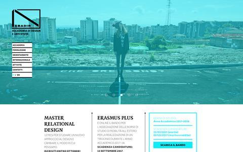 Screenshot of Home Page abadir.net - Abadir – Accademia di Design e Arti visive - captured Oct. 7, 2017