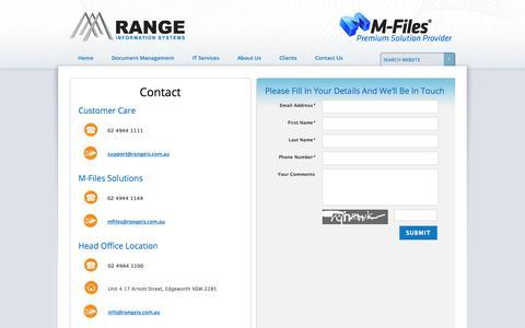 Screenshot of Contact Page rangeis.com.au - Range Information Systems - Contact Information - Newcastle Hunter - captured Nov. 3, 2014