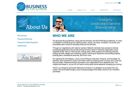 Screenshot of About Page bbnsavings.net - Business Buying Network | Who We Are - captured Oct. 1, 2014