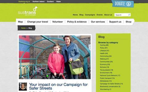 Screenshot of Blog sustrans.org.uk - Blog | Sustrans - captured Sept. 19, 2014