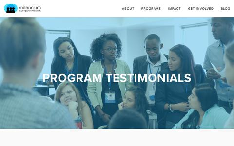 Screenshot of Testimonials Page mcnpartners.org - Testimonials — Millennium Campus Network - captured Oct. 19, 2017