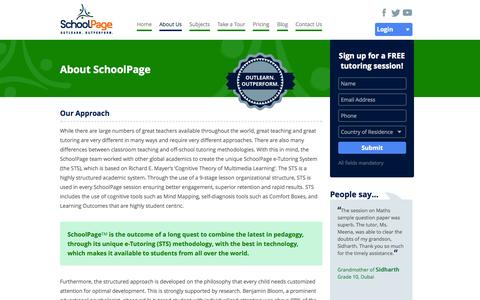 Screenshot of About Page schoolpage.me - About School Page   Online Tutoring Services   Online Tuition Classes - captured Sept. 23, 2014
